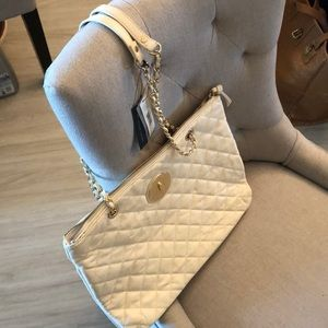 DKNY quilted cream purse